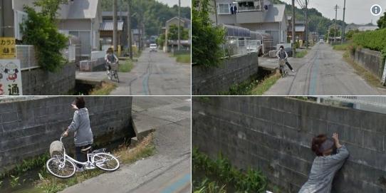 谷歌街景拍下日本大妈掉进水沟画面的照片 - 1