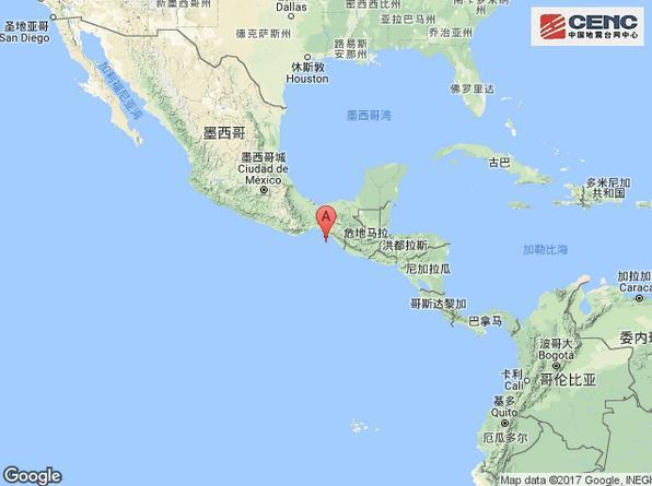 墨西哥恰帕斯州沿岸近海附近发生8.2级左右地震