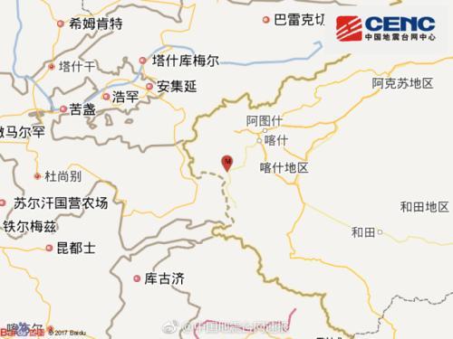 新疆阿克陶县发生4.1级地震 震源深度6千米
