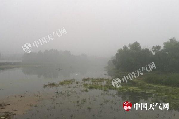 今晨,北京稻喷鼻湖湿地公园雾气蒙蒙。