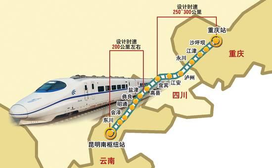渝昆高铁 重庆境内约100公里 四川境内约200公里 贵州境内约20公里 云南境内约400公里 根据规划 渝昆高铁暂设的站点数量有18个 其中重庆境内3个 四川境内5个,云南境内10个 该项目建设工期为48-72个月