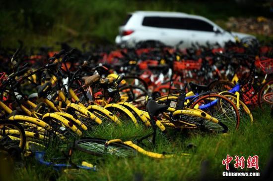 资料图:聚集如山的共享单车。中新社记者 李进红 摄
