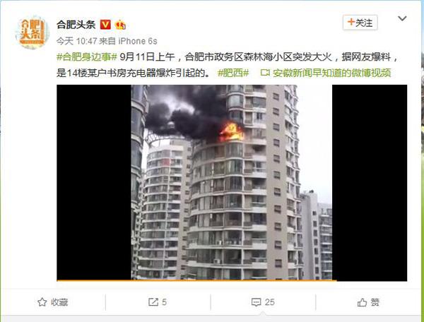 """微博大V发布所谓""""森林海火灾""""的截图。"""