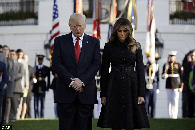 """特朗普夫妇出席""""911""""纪念仪式。图源:美联社"""
