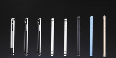 蘋果十年間推出的部分産品側面圖。圖片來源:視覺中國