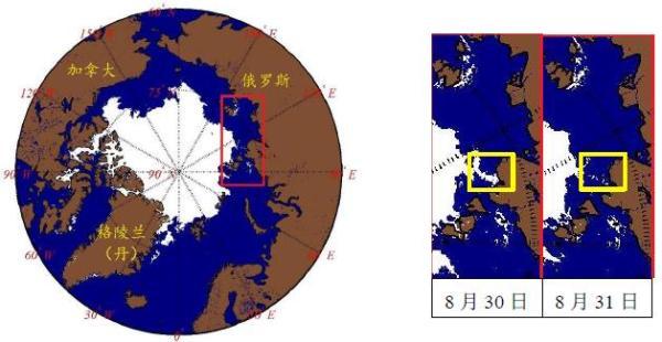 (左图为2017年8月31日整个北极地区海冰监测结果;红框内为北极东北航道核心区域;右图分别为北极东北航道核心区域2017年8月30日及8月31日监测结果,黄框内为拉普捷夫海西南部,布尔什维克岛东侧区域)