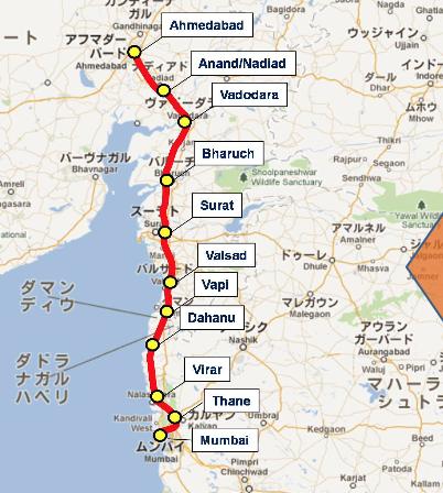 孟买-艾哈迈德巴德高铁计划路线