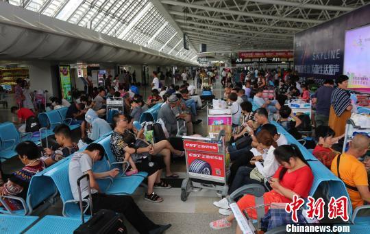 9月14日下午,旅客在三亚凤凰国际机场候机。该机场14日14时30分许提供的信息,已经取消航班74架次。 尹海明 摄