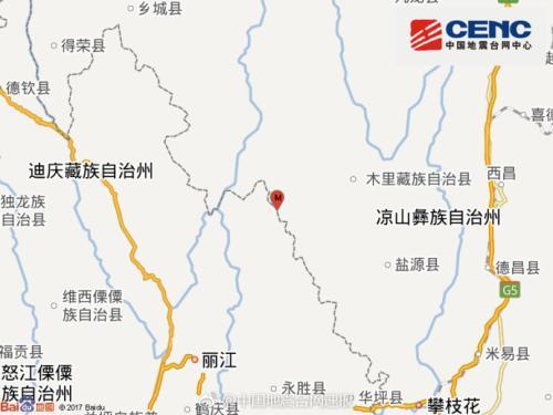 四川盐源县发生3.1级地震 震源深度13千米