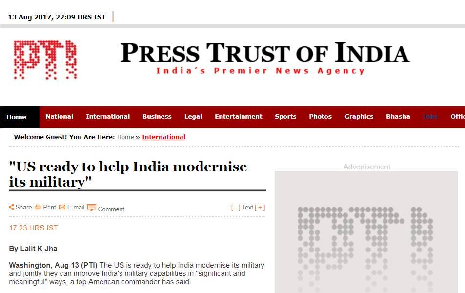 ▲8月13日,《印度报业托拉斯日报》报道,美国已经准备好帮助印度实现军事现代化。