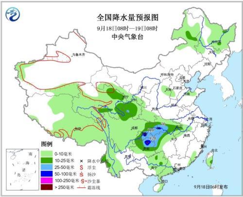 全国降水量预报图(9月18日08时-19日08时)