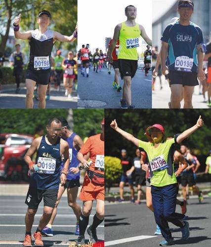 网友们发现至少有5位跑者在比赛中佩戴D0198号码布,网络截图。图片来源:新京报