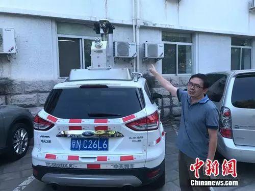 事情职员先容SSW车载激光建模丈量零碎。中新网吴涛 摄