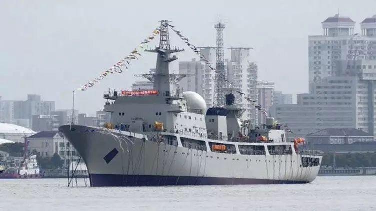 ▲9月8日,解放军第7艘革新型东调级(815A型)侦探船在上海沪东中华造船厂下水。(英国《简氏防务周刊》网站)