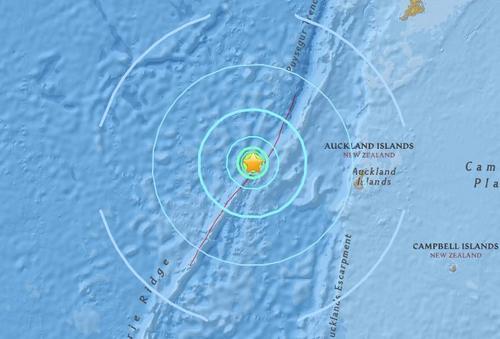 新西兰奥克兰岛西部海域发生里氏6.1级地震。(图片来源:美国地质勘探局)