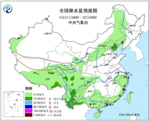 图1 天下降水量预告图(9月21日08时-22日08时)