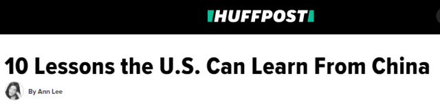"""▲""""美国能向中国学习的10个方面""""(via Huffington Post)"""