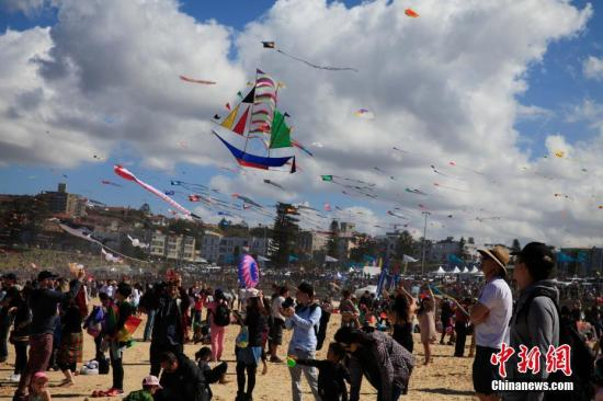 材料图:澳大利亚鹞子节在悉尼邦迪海滩举行。中新社记者 钟欣 摄