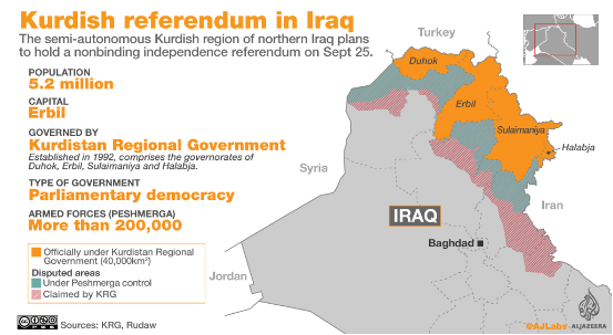 黄色部分为库尔德自治区(库区)。(图片来源:半岛电视台)