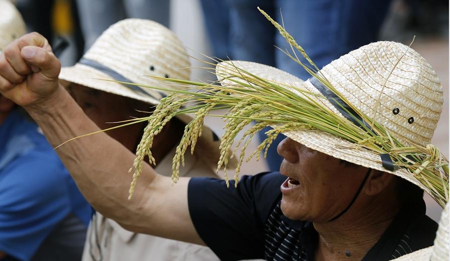 参加集会的农民振臂高呼,情绪激动