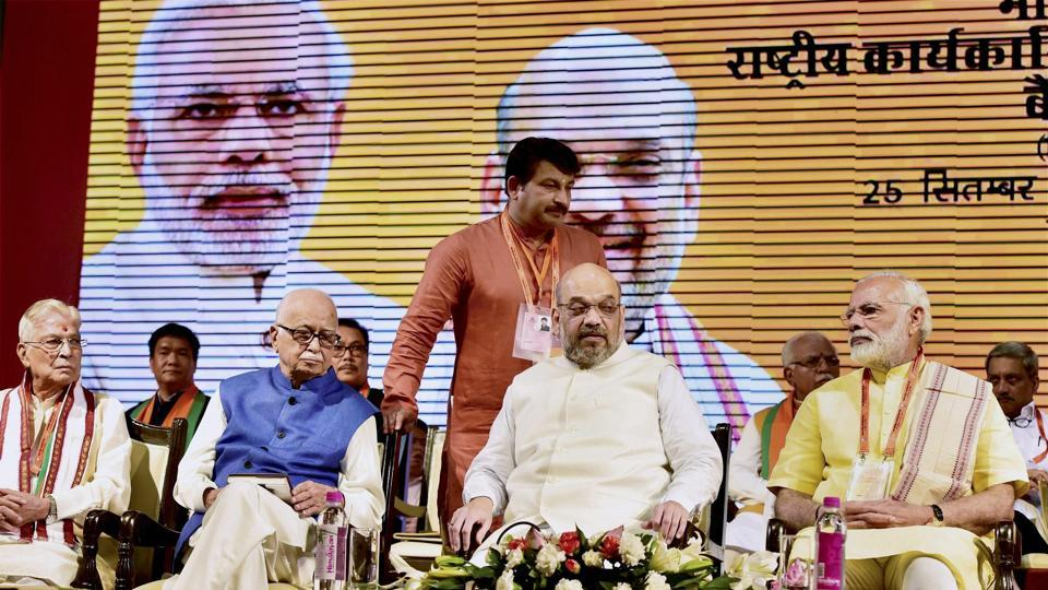 印度人民党25日在新德里召开会议。(图片来源:PTI)