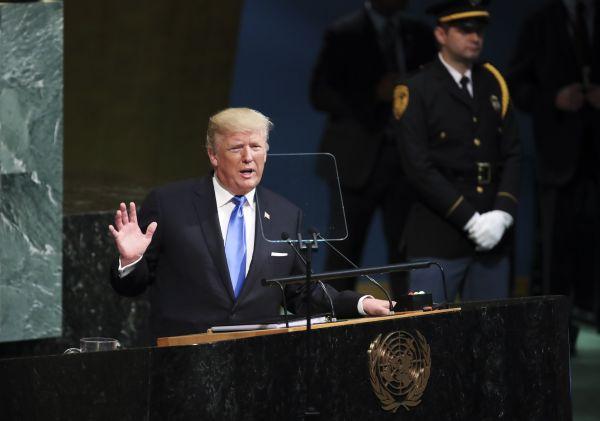 9月19日,在纽约联合国总部,美国总统特朗普在联大一般性辩论上发言。新华社记者王迎摄