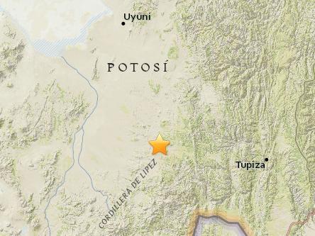 玻利维亚南部发生5级地震 震源深度232.1公里