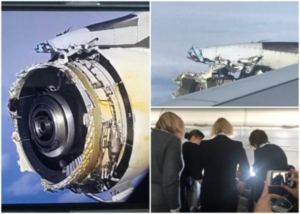 飞机其中一个引擎严重损毁(图左及图右上)。空服员也担心的望出机窗。