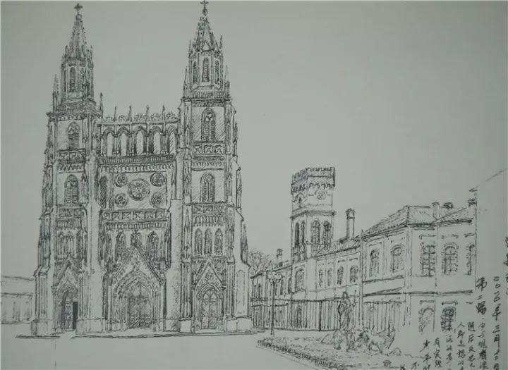 手绘效果图教堂