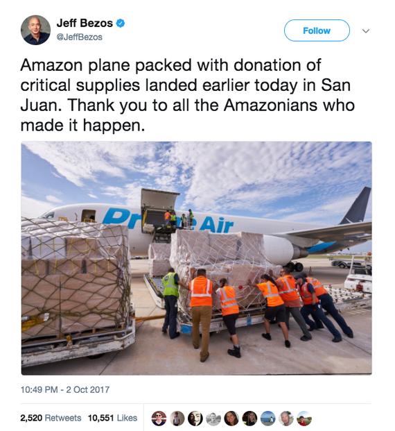 亚马逊向遭受玛利亚飓风灾害的波多黎各送去一批基本物资