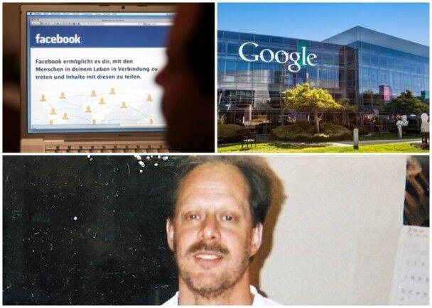 脸书(左上)及谷歌(右上)被指流传帕多克(下)的假新闻。(资料图)