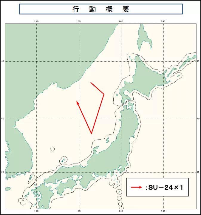 俄军战机飞行路线:没有北上靠近北海道,而是向南逼近佐渡、能登方向(日本统合幕僚监部通报附图)