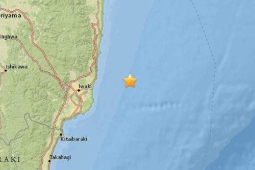 日本福岛海域发生5.4级地震。(图片来源:美国地质勘探局网站截图)