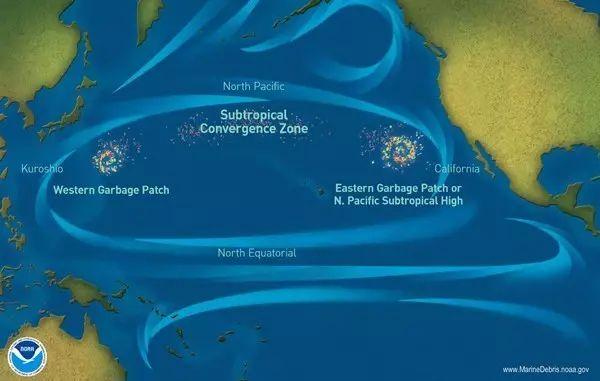 ▲在北太平洋环绕漂流的垃圾岛。图据美国商务部官网