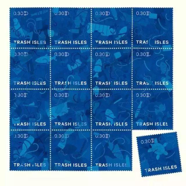 ▲垃圾岛邮票。图片来源:Quartz