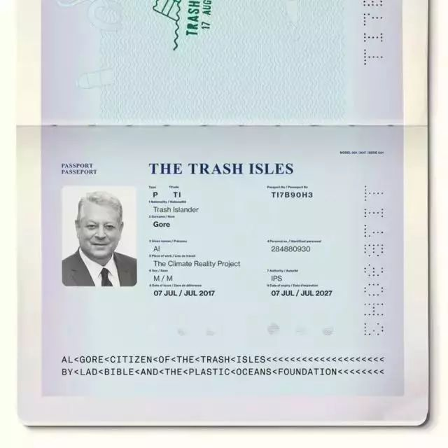 ▲戈爾的垃圾群島國護照。圖片來源:Quartz
