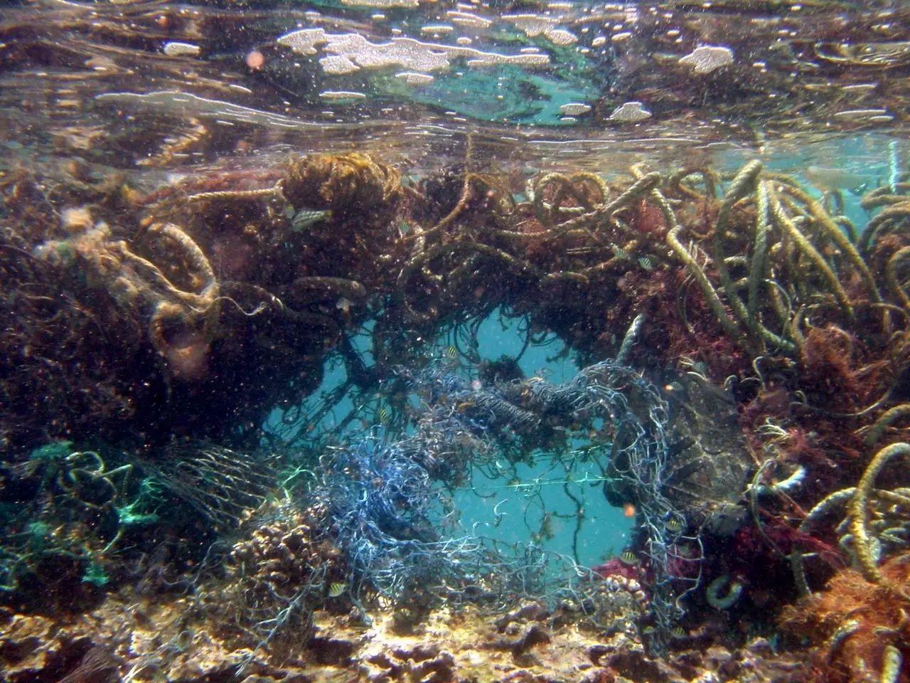 ▲无法被降解的垃圾随着洋流汇聚到一起形成了太平洋垃圾岛。图据网络