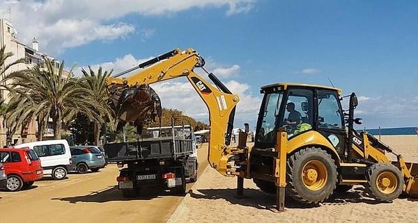 西班牙海滩现巨型棱皮海龟 被挖掘机抬起装车