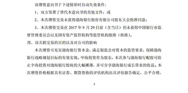 中远海发与渤海银行增资意向书自动失效条件。