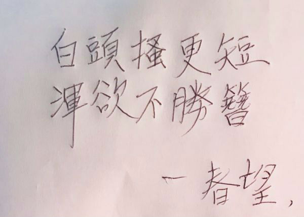 卢英敏用汉字写下《春望》的两句诗句