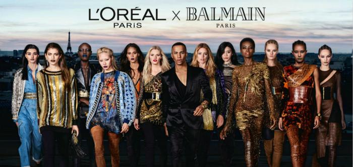 欧莱雅和Balmain曾推出联名系列,于巴黎时装周期间在香榭丽舍大街办秀
