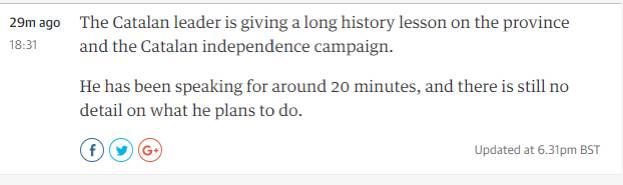 (图为英国《卫报》在直播加泰罗尼亚公投时吐槽普伊格蒙特半天说不到重点…)