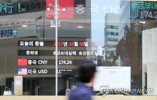10月9日,一名市民路过位于首尔中区的中国建设银行首尔分行。(韩联社)
