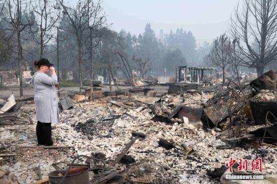 当地时间10月10日,美国加州圣塔罗莎市被烧毁的科菲公园(Coffey Park)住宅区。 中新社记者 刘丹 摄