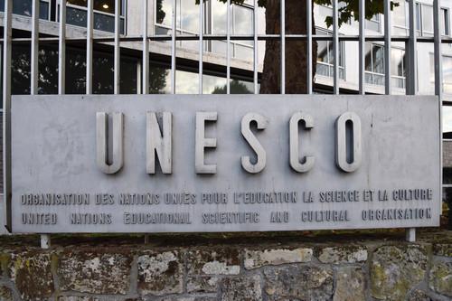 资料图片:这是10月12日在法国巴黎拍摄的联合国教科文组织总部外景。新华社记者 陈益宸 摄