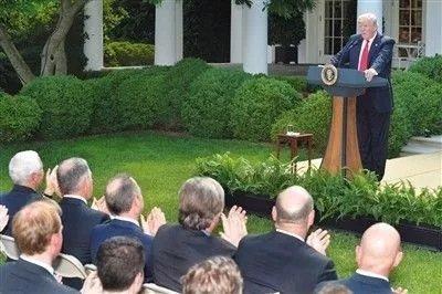 ▲特朗普在白宫宣布,美国将退出《巴黎协定》。 图据新华社