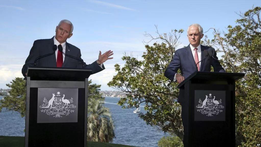 ▲资料图片:4月22日,美国副总统彭斯(左)和澳大利亚总理特仑布尔在悉尼举行联合记者会。