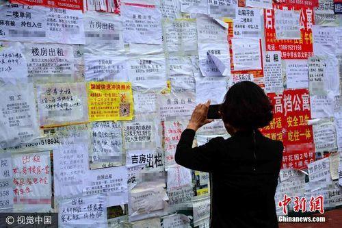 资料图:某地一个信息栏上,贴着的各类房屋出租信息。图片来源:视觉中国