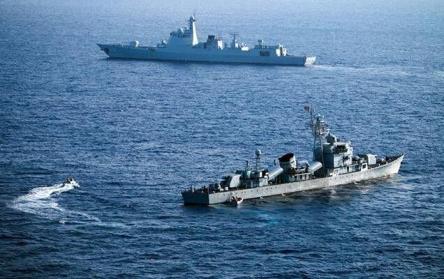 ▲资料图片:2016年5月,中国南海舰队进行军事演习。(盖帝图像)