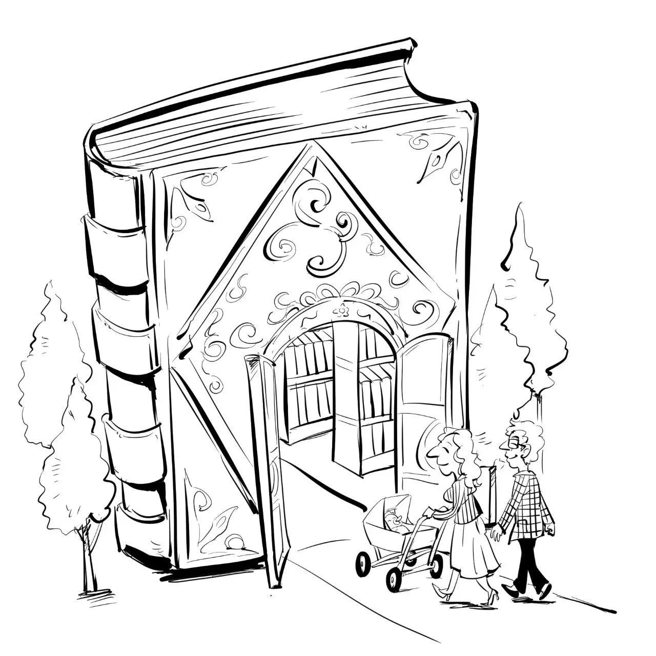 图书室内部手绘线稿